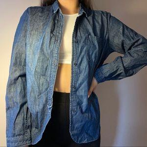 3/$10✨ denim blue button cardigan top